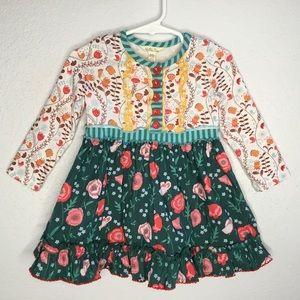 Matilda Jane long sleeve dress floral, red buttons